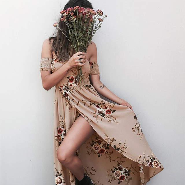 45b05357ac4a Online Shop Boho style long dress women Off shoulder beach summer dresses  Floral print Vintage chiffon white maxi dress vestidos de festa
