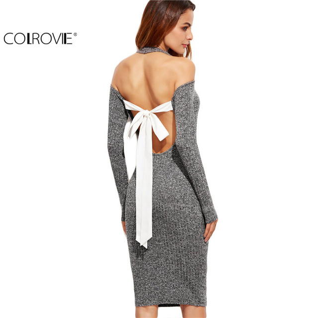 79e188a4f47 COLROVIE Elegant Dress Bodycon Dress Sexy Grey Long Sleeve Marled Knit Cold  Shoulder Cutout Tie Back