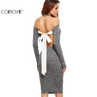 COLROVE Elegant Dress Bodycon Dress Sexy Grey Long Sleeve Marled Knit Cold Shoulder Cutout Tie Back