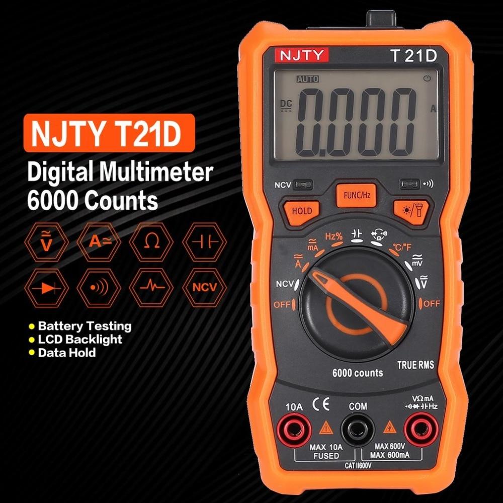 Multímetro Digital NJTY T21D DC/AC Voltage Current Meter Amperímetro Ohm Handheld Tester 6000 Counts Multímetro NCV Diode
