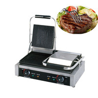 Professional 220V Electric Non stick Sandwich Press Steak Grill Panini Grill Press Maker Machine