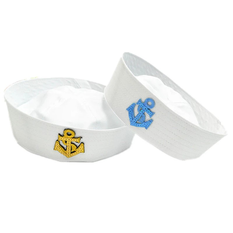 Active Military Hats Stage Performing Double Flags And Arrows White Sailor Navy Hat Cap For Adult Kids Doughboy Hat