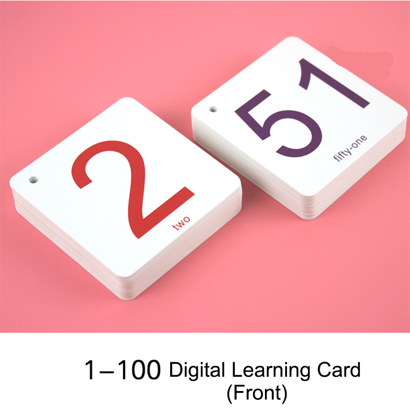 100Pcs/Set Kids Children's Digital Number Flash Card 0-100 Early Learning Addition, Subtraction, Multiplication, Divide Games