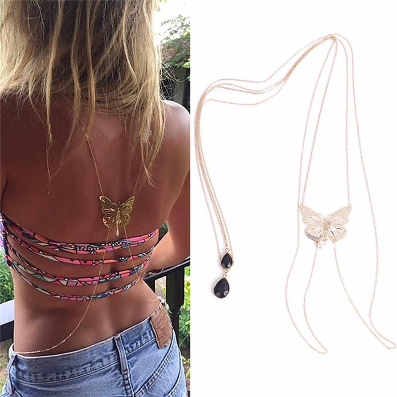 1 pc nova chegada colar de corrente do corpo jóias finas moda feminina ouro borboleta bikini crossover cintura barriga preto arnês