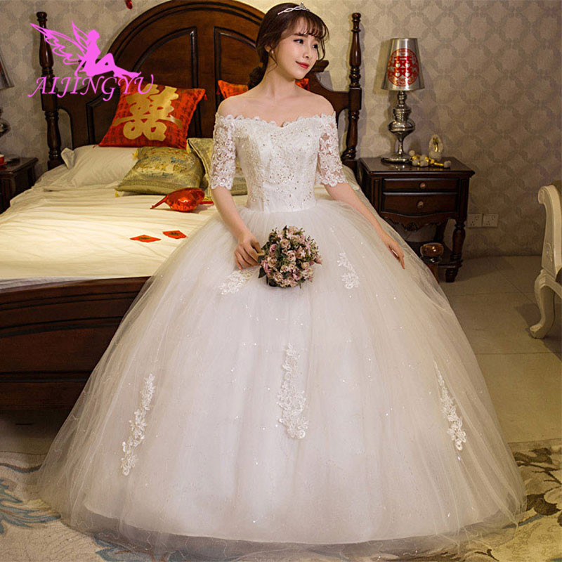 AIJINGYU 2018 Ivory Free Shipping New Hot Selling Cheap Ball Gown Lace Up Back Formal Bride Dresses Wedding Dress WK534