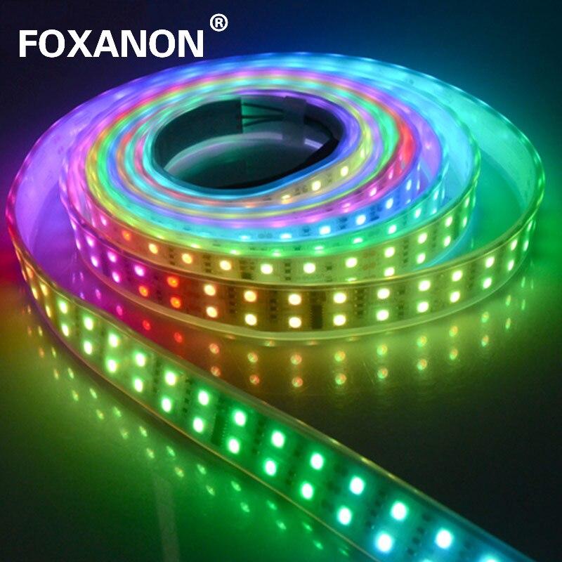 Foxanon 5 M WS1812 IC Led bande Double rangée tube étanche 600 Leds 5050 RGB flexible lumière rêve magique couleur bande lampe