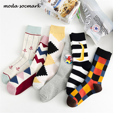 Moda Socmark Brand 2019 New Happy Socks Women Cotton Geometry Funny For Harajuku Street Female Skateboard