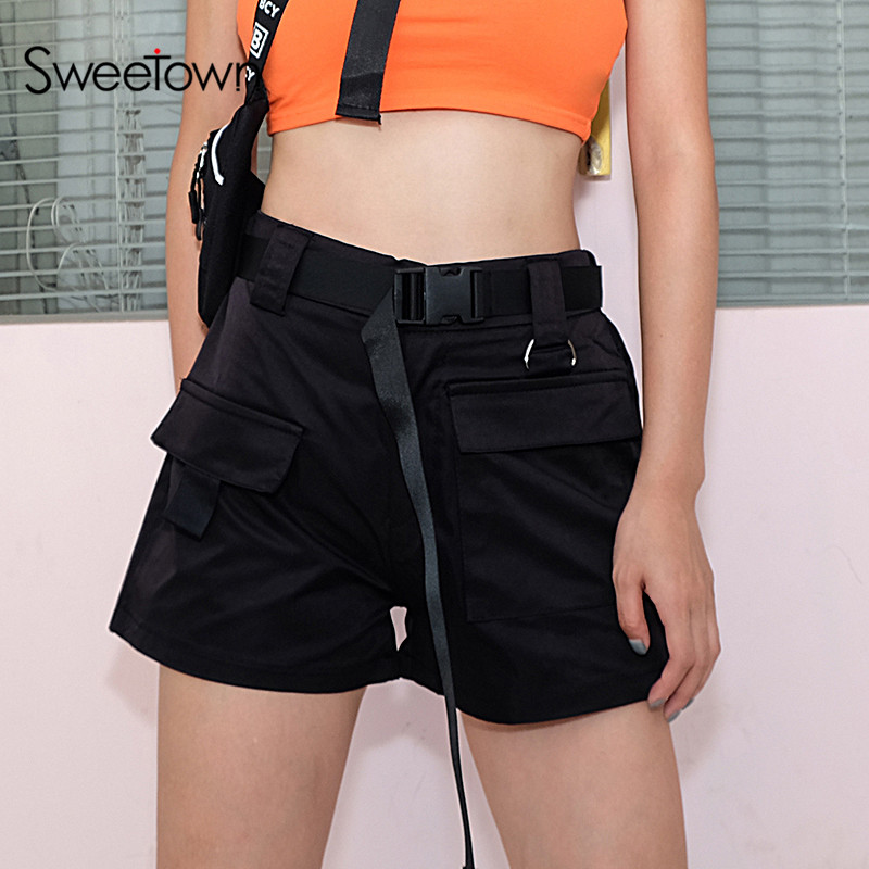 Sweetown High Waisted Plus Size Shorts For Women Black/White/Khaki Cotton Womens Shorts Summer Short Femme Ete 2018 Streetwear