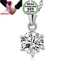 OMHXZJ Wholesale jewelry round six Paw setting woman kpop AAA Zircon 925 sterling silver NO Chain Necklace pendant Charms PE03