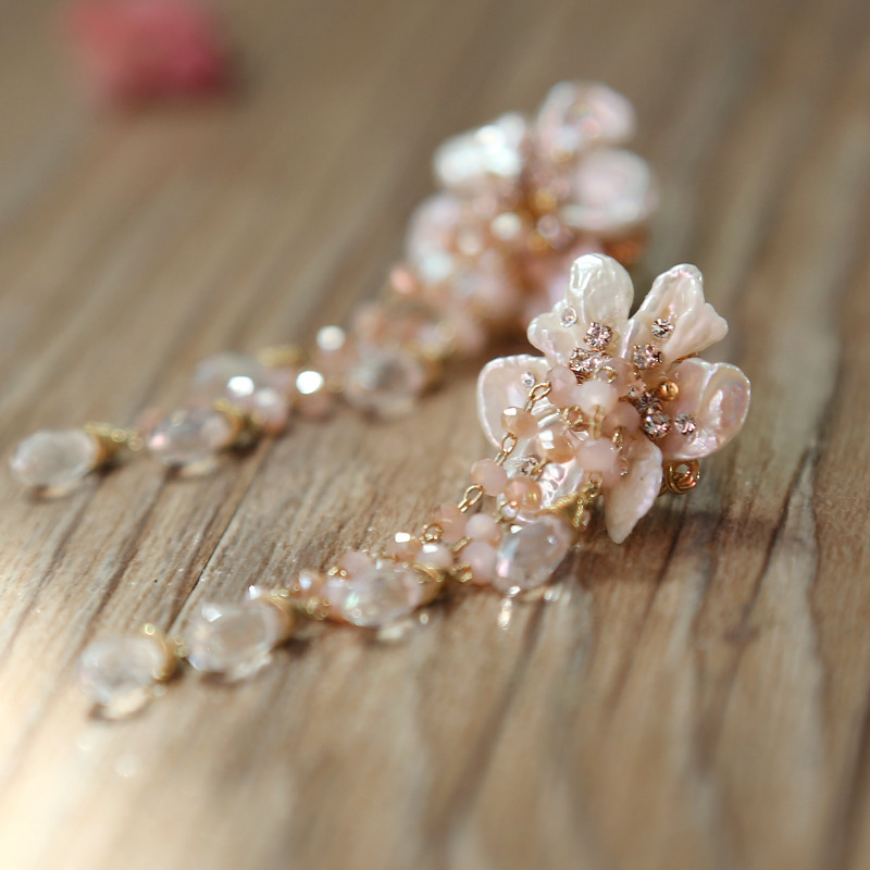 Natural baroque pearls seiko manual design fashion crystal flower tassel earrings earringsNatural baroque pearls seiko manual design fashion crystal flower tassel earrings earrings