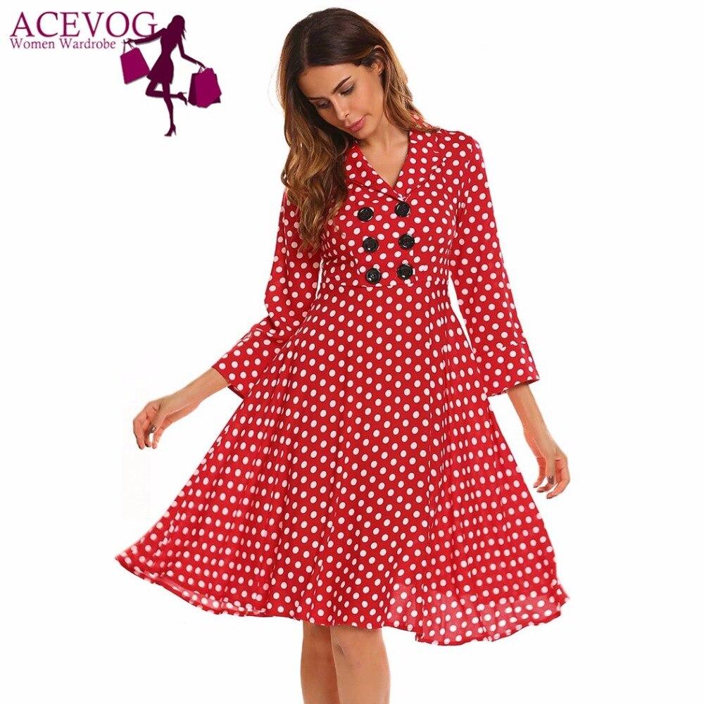 ACEVOG Vintage Robe Femmes Automne 50 s 60 s Élégant Polka Dot V-cou 3/4 Manches Bouton Ruches A-ligne Robes de Soirée robes Robe