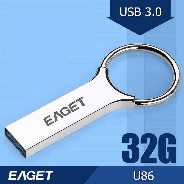 Eaget u86 usb 3.0 100% 32 gb usb flash drives 2015 moda de Alta Velocidad de Metal A Prueba de agua Usb Pen Drive Palo Libre gratis