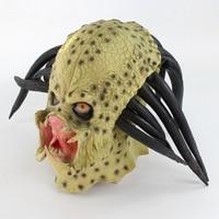 Latex Movie Alien Predator Cosplay Mask Costume Helmet Props Antenna Halloween Party Horror Full Face Head Mask Toys