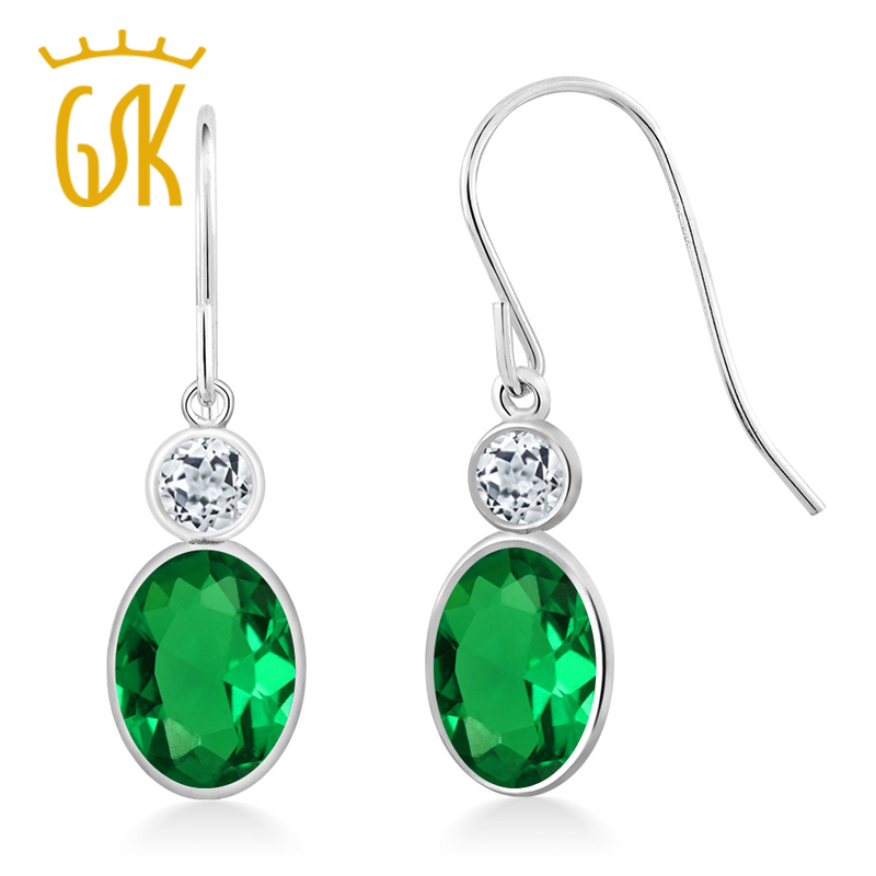 GemStoneKing Emerald Jewelry 1.48 Ct Oval Green Simulated Emerald White Topaz 14K White Gold Drop Earrings For Women