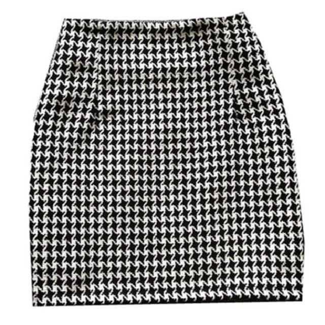 New 2019 Spring Autumn Winter Women Skirt High Waist Mini Skirt Plus Size Sexy Short Skirt Houndstooth Woolen Skirts Women S373