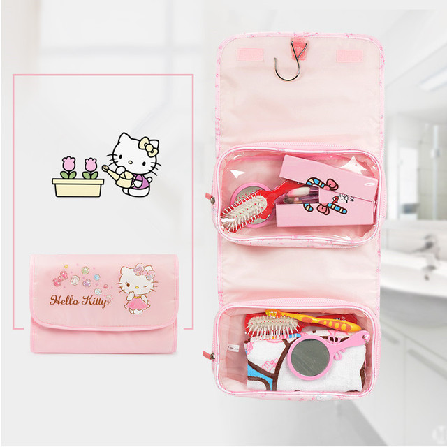 Multifunctional Woman Travel Cosmetic Comb Brush Bag Hello Kitty Makeup My Melody Wash Storage