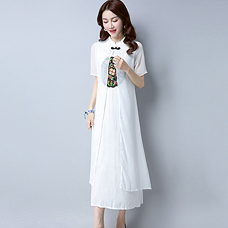 2018 Summer Autumn Women Cotton Linen Embroidery Dress Fake Two New Vestidos National Style Female Fashion Long Parties Dresses in Dresses from Women 39 s Clothing