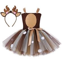 Платье пачка с рождественским оленем, платья на 1 й день рождения для маленьких девочек, костюм для косплея счастливого Пурим на Хэллоуин с животными, женская одежда