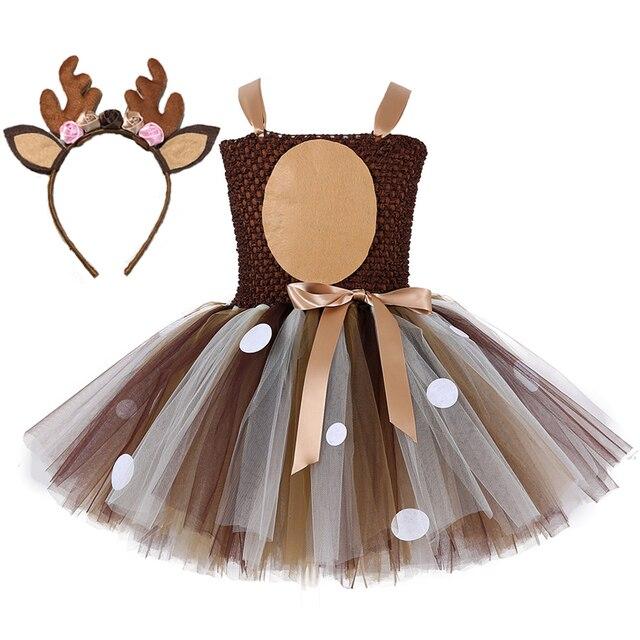 Kerst Herten Tutu Jurk Baby Meisjes 1st Verjaardag Party Jurken Gelukkig Purim Halloween Animal Cosplay Kostuum Kleding 1 14Y