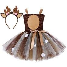Natal veados tutu vestido do bebê meninas 1st aniversário vestidos de festa feliz purim halloween animal cosplay traje roupas 1 14y