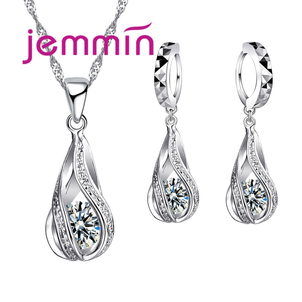 Free Shipping Top Quality 925 Sterling Silver Wedding Party Jewelry Sets Multiple Color Crystals Pendant Necklace Earrings 1