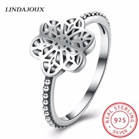 LINDAJOUX Authentic 925 Sterling Silver Jewelry Simple Hollow Stars Rings Women Engagement Wedding Silver 925 Ring