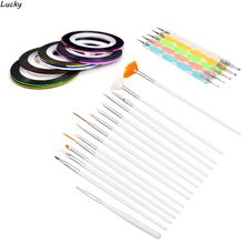 30PCS Nail Art Design Set Dotting Painting Drawing Polish Brush Pen Striping Tape Tool Kit Decals Maquiagem Maquillaje