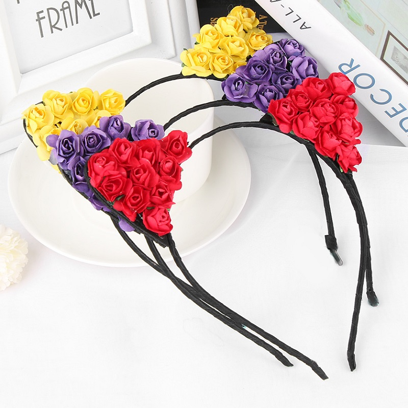1PC Children Flower Cat Ears Hairband Headband Cute Girls Hair Hoop Party Hairpins Hair Band Accessories 9 Colors metting joura women girls bohemian punk vintage braided silver metal seed beads knitted flower headband hair accessories