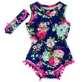 2016 Sweet Toddler Kids Floral Rompers with Headbands Tassels Cute Soft Summer Clothing Baby Kids Casual One Pieces