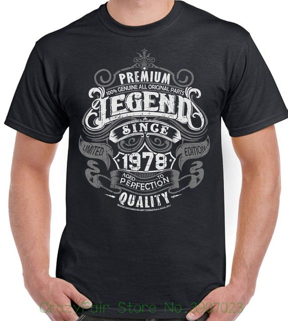 ba511b74e6 Premium Legend Since 1978 40th Birthday Mens Funny T-shirt 40 Year Old Top  Men T Shirt Short Sleeve Round Neck