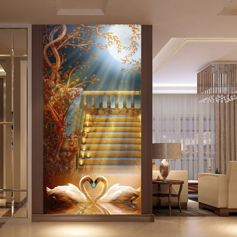 Photo Wallpaper Custom 3D Stereo Moonlight White Swan Mural Hotel Living Room Entrance Backdrop Wall Painting Papel De Parede 3D