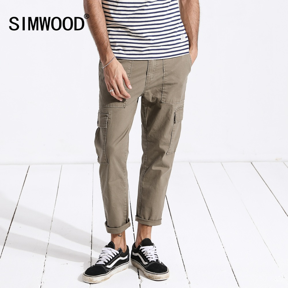 SIMWOOD 2019 New Autumn Cargo Pants Men Ankle-Length Hip Hop Track Thin Trousers Vintage Pockets High Quality Clothes 180329