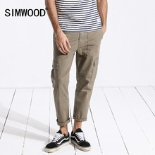 SIMWOOD 2020 New spring Cargo Pants Men Ankle Length Hip Hop Track Thin Trousers Vintage Pockets High Quality Clothes 180329