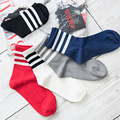 New Women Socks 2017 Spring Casual Stripe Mid Socks Fashion Elastic Force Hand-made High Quality Cotton Solid Color Socks