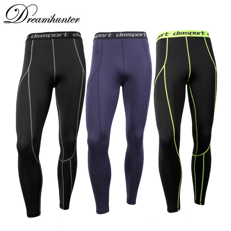 Men Compression Pants High Elasticity Skinny Leggings Mans Letter Sweatpants Bodybuilding Quick Dry Leggings Tight