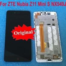 شاشة عرض LCD أصلية لـ ZTE Nubia Z11 MiniS NX549J تجميع محول رقمي للوحة اللمس مع إطار لمستشعر Z11 mini S