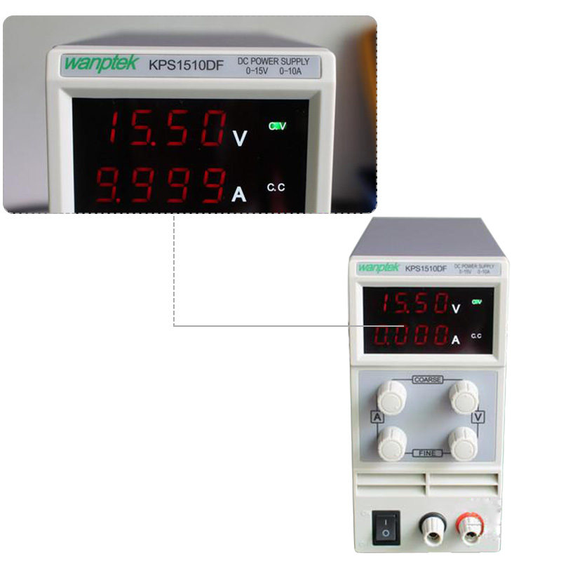 New KPS1510DF 15V10A 110V-230V 0.1V/0.001A EU LED Digital Adjustable Switch DC Power Supply mA display