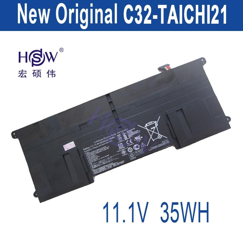 HSW New  11.1V 3200mAh 35Wh C32-TAICHI21 Battery for Asus Ultrabook Taichi 21 bateria akku