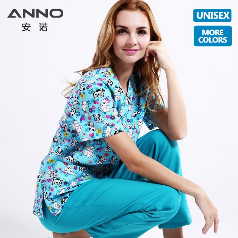 ANNO 5XL Plus Size Medical Clothes Cartoon Dog Nursing Uniforms Medical Clothing Dental Clinic Hospital Work Wear Surgical Suit
