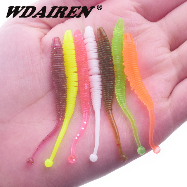 10pcs/lot 0.6g 6cm silicone bait Fishing Worm Soft Lures iscas Artificial pesca spiral soft baits Bass Rubber Lure tackle FA-516