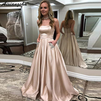 Long Evening Dresses 2019 New Poket With Crystal Pocket A Line Strapless Formal Dress Evening Party Gowns Robe De Soiree
