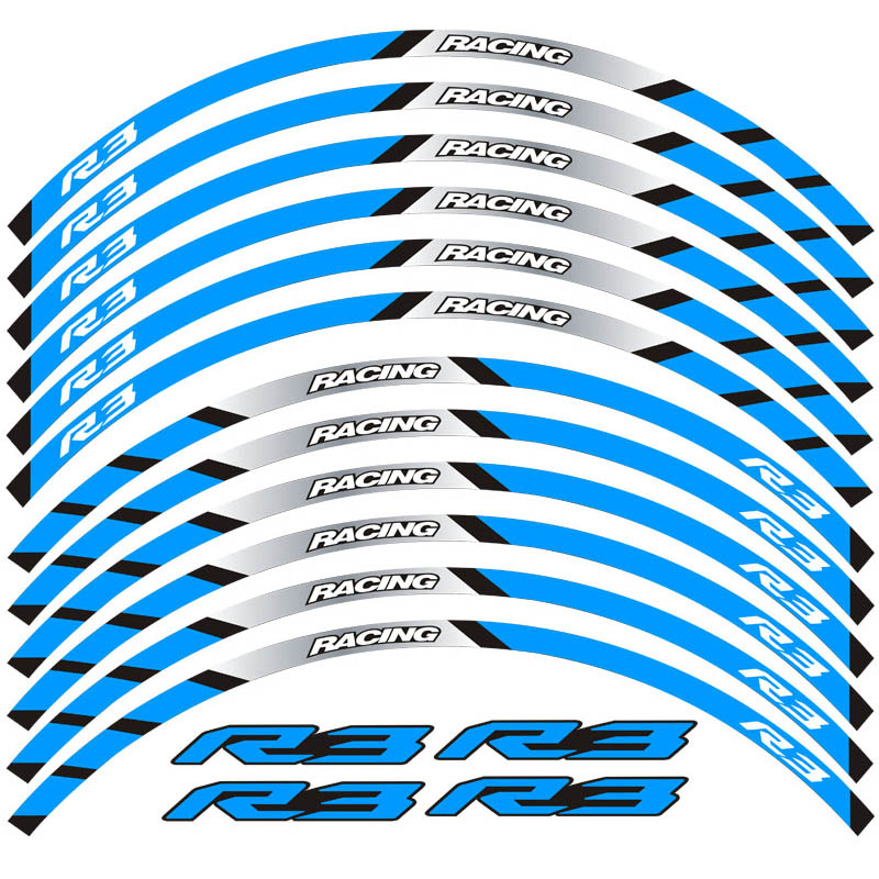 New 12 Pcs Fit Motorcycle Wheel Sticker stripe Reflective Decals Rim For yamaha YZFR3 in Decals Stickers from Automobiles Motorcycles