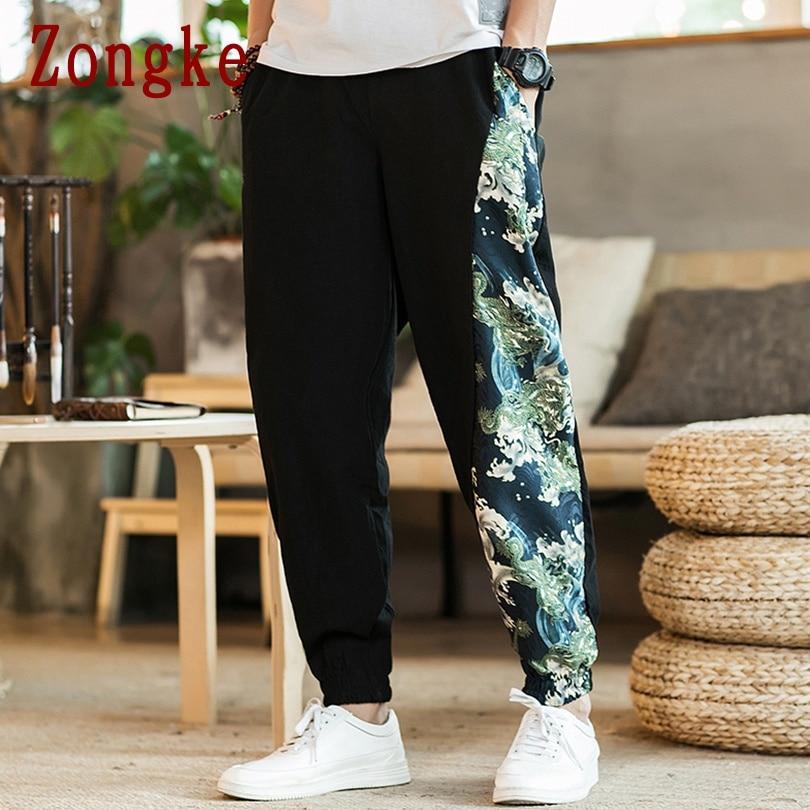 Zongke Chinese Style Cotton Linen Pants Men Joggers Men Pants Streetwear Sweatpants Harem Pants Men Trousers 5XL 2019 Autumn New