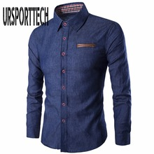 2019 New Brand Men Shirt Business Long Sleeve Denim Shirts Casual Fashion Slim Fit Camisa Jeans Masculine Male Clothing S-3XL
