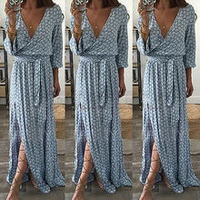 Boho floral print split long dress Women beach summer v neck kimono sexy Eleagnt sash wrap maxi dresses S-2XL