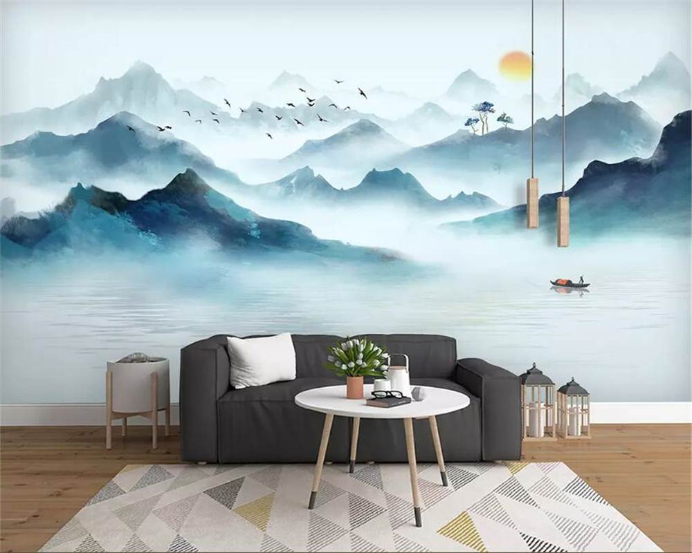 beibehang Custom wallpaper modern minimalist new Chinese ink artistic landscape wall decorative painting 3d