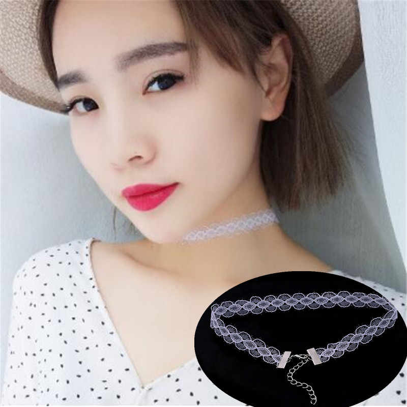 New cheap Black white Lace Velvet Choker Necklace punk Retro Gothic Elastic Chocker Necklaces For Women Gift free shipping