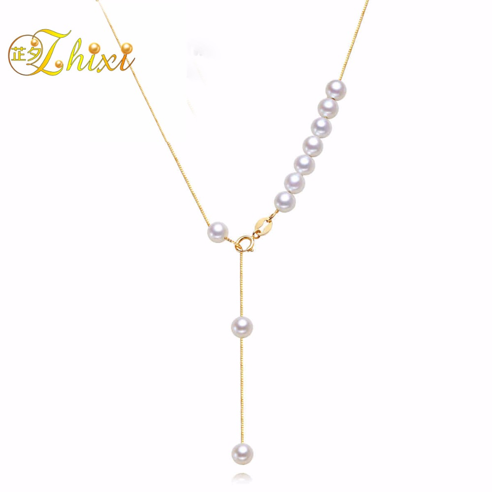 ZHIXI Real 18K Gold Pearl Necklace Pendant AU750 Round Natural Freshwater Pearl Pendant Women Charms Fine Pearl Jewelry P03 real diamond princess pendant 8 5 10 5mm natrual round pearl charm necklace in 18k au750 gold with 45cm chains for women ladies