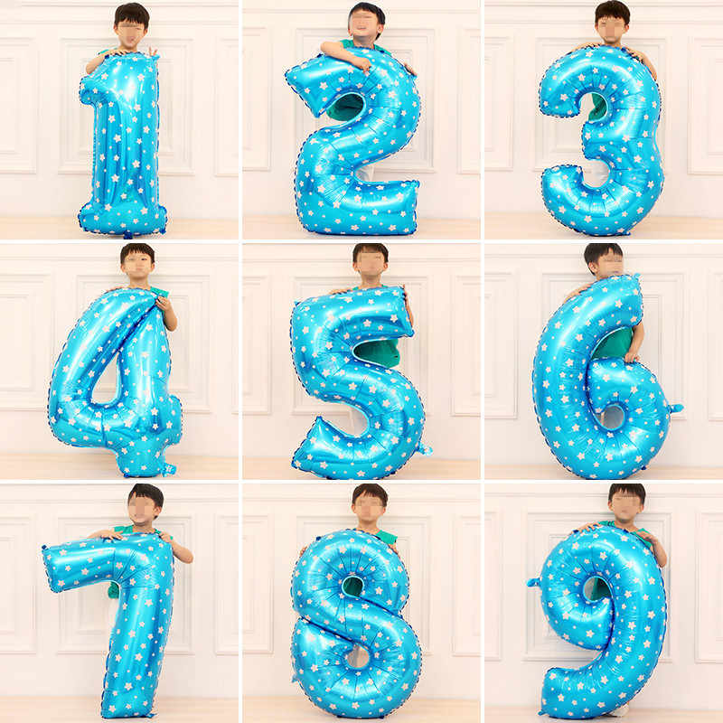 32 Inch Large Blue Pink Number Balloons Happy Birthday Balloon Birthday Party Decoration Kids Baby Boy Girl Party Ballons Number