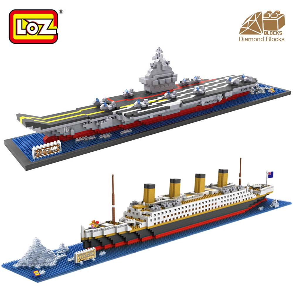 LOZ Diamond Blocks RMS Titanic Aircraft Carrier Ship Model Building Blocks Kits Toys for Children Boat Micro Bricks Creator DIY pzx diamond blocks technic bricks building blocks toy vehicle rms titanic ship steam boat model toys for children micro creator